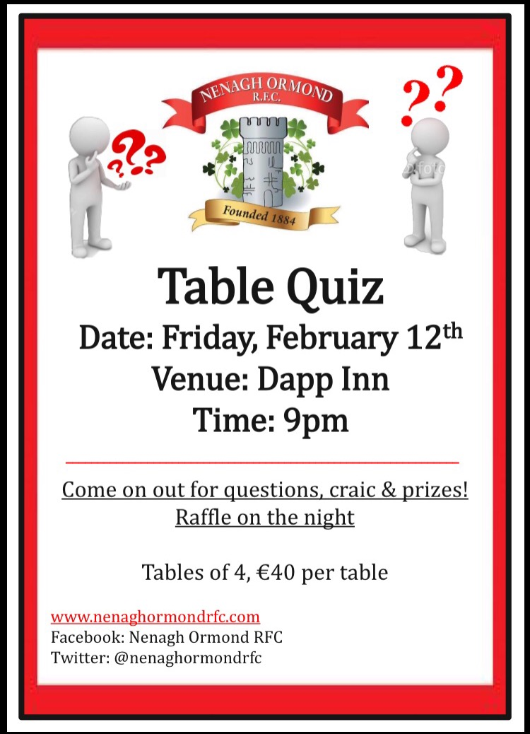 Nenagh ormond rfc table quiz for Table quiz hannover