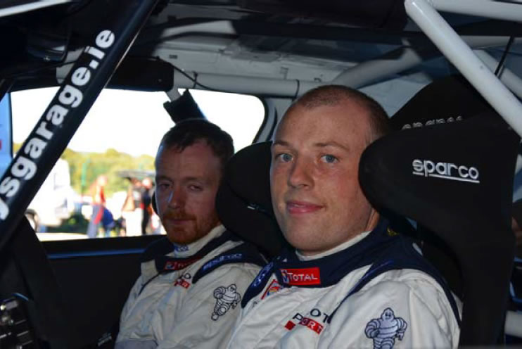 Pictured from left to right are: Shaun Forde, co-driver and Andrew Slattery in the Peugeot 208 R2.